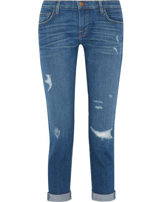 Current/Elliott - Blue The Fling Distressed Slim Boyfriend Jeans - Lyst