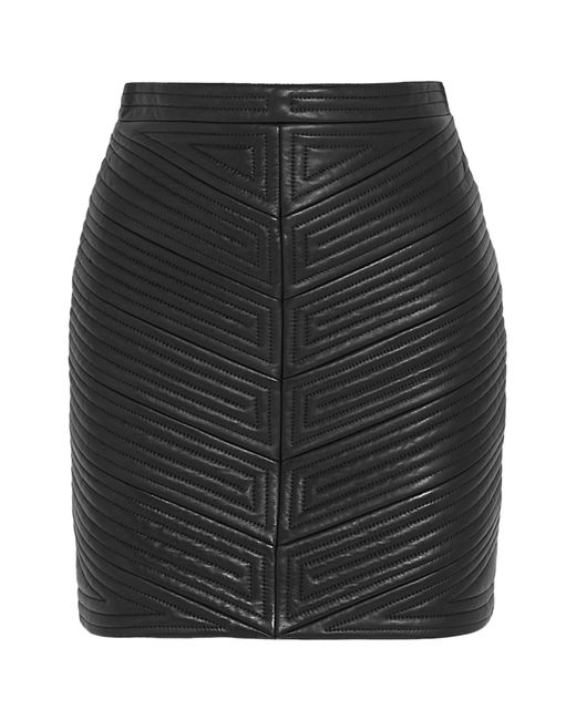 Balmain | Black Quilted Leather Mini Skirt | Lyst