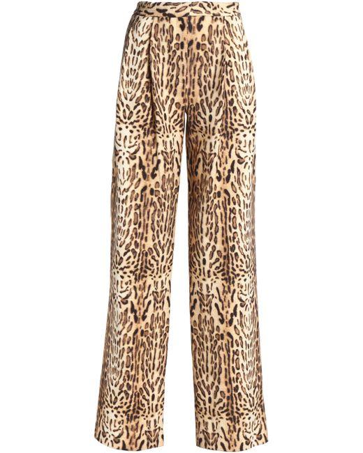 Adam Lippes - Multicolor Leopard-print Wool Wide-leg Pants - Lyst