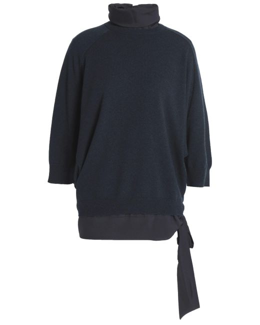 Brunello Cucinelli - Blue Layered Cashmere And Silk-blend Turtleneck Sweater - Lyst