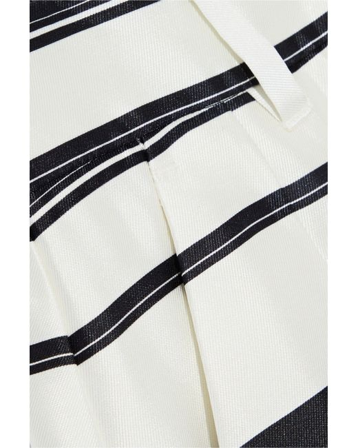 c9dd28e6 ... Dolce & Gabbana - White Woman Striped Silk-satin Twill Shorts Ivory -  Lyst