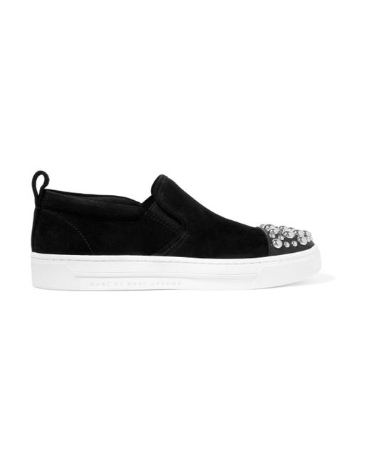 Marc By Marc Jacobs | Black Leather-trimmed Studded Suede Slip-on Sneakers | Lyst