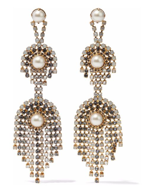 Elizabeth Cole - Metallic Gold-tone, Faux Pearl And Crystal Earrings - Lyst