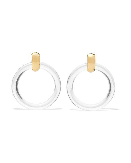 Kenneth Jay Lane - White Woman Resin Gold-tone Clip Earrings Ivory - Lyst