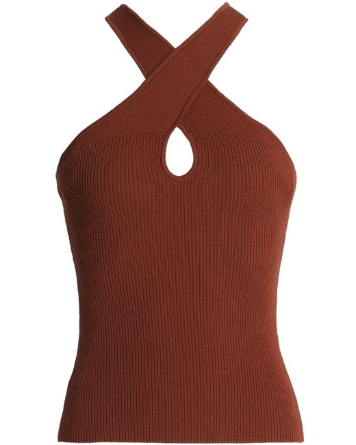 Bailey 44 Woman Crossover Ribbed-knit Top Brown Size S Bailey 44 Free Shipping Get To Buy 82R0X