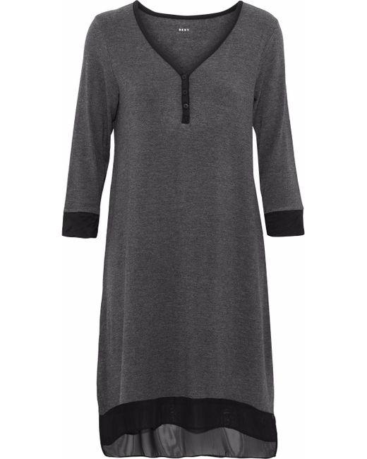 DKNY - Gray Chiffon-trimmed Modal-blend Jersey Nightdress - Lyst