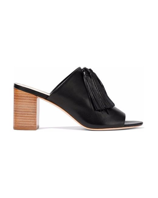 Loeffler Randall - Black Clo Tasseled Leather Mules - Lyst