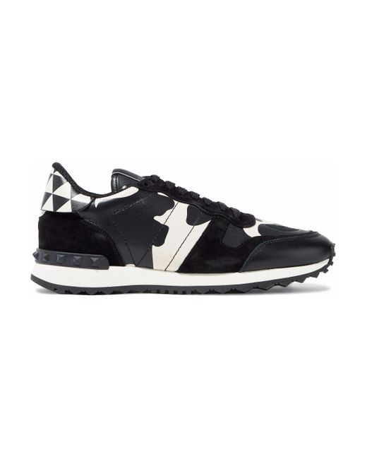 Valentino - Black Rockstud Suede, Canvas And Printed Leather Sneakers - Lyst