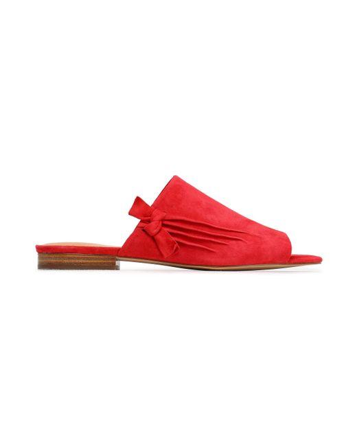 Halston Heritage - Red Lorraine Knotted Suede Slides - Lyst