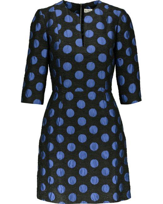 Suno | Blue Polka-dot Jacquard Mini Dress | Lyst