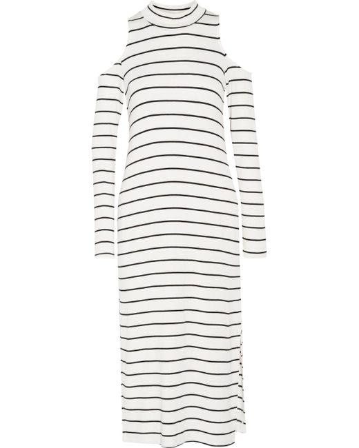 Splendid | White Envelope Cold-shoulder Striped Stretch-modal Midi Dress | Lyst