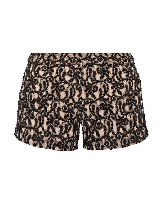 Alice + Olivia | Black Embellished Guipure Lace Shorts | Lyst