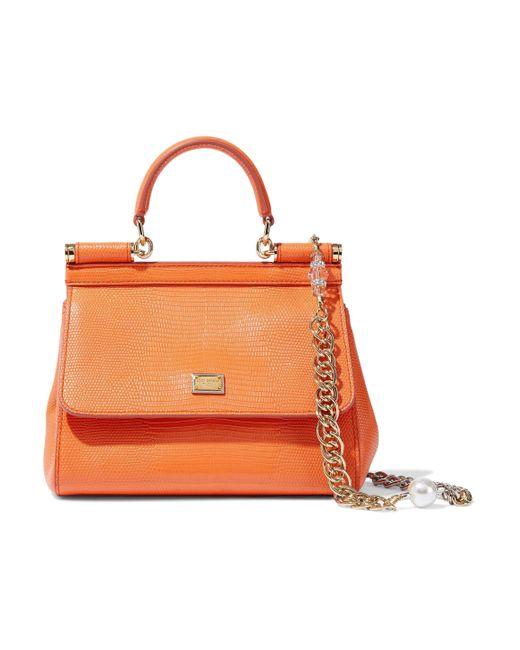 22a43454d7 ... Dolce   Gabbana - Woman Sicily Lizard-effect Leather Shoulder Bag  Orange - Lyst