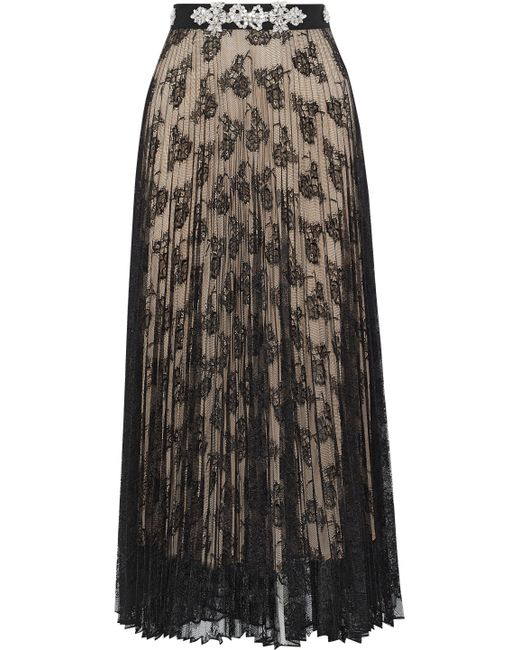 Christopher Kane - Black Pleated Skirt With Lace Detail - Lyst