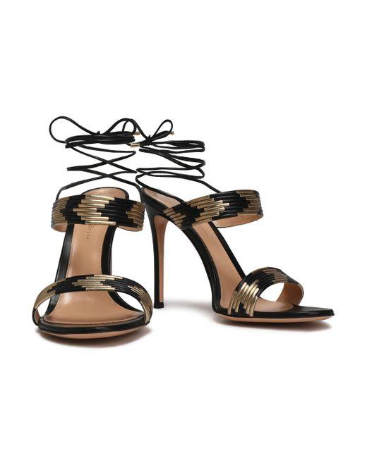 0e573881c2e ... Gianvito Rossi - Woman Suni Matte And Metallic Leather Sandals Black -  Lyst ...