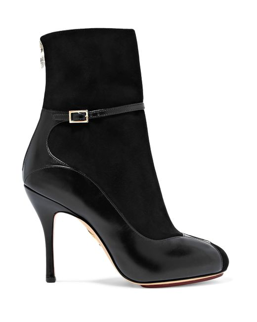 Charlotte Olympia - Black Incognito Suede And Leather Ankle Boots - Lyst