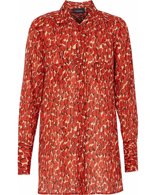 By Malene Birger - Printed Cotton-voile Shirt Tomato Red - Lyst