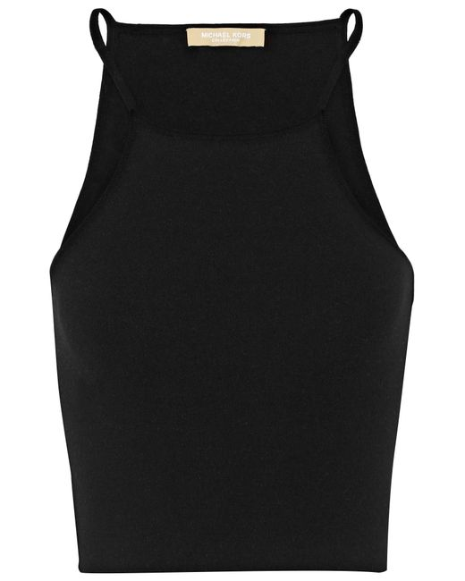 Michael Kors | Black Cropped Stretch-knit Top | Lyst