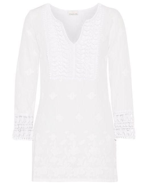Miguelina | White Sadie Crochet-paneled Embroidered Cotton-gauze Coverup | Lyst