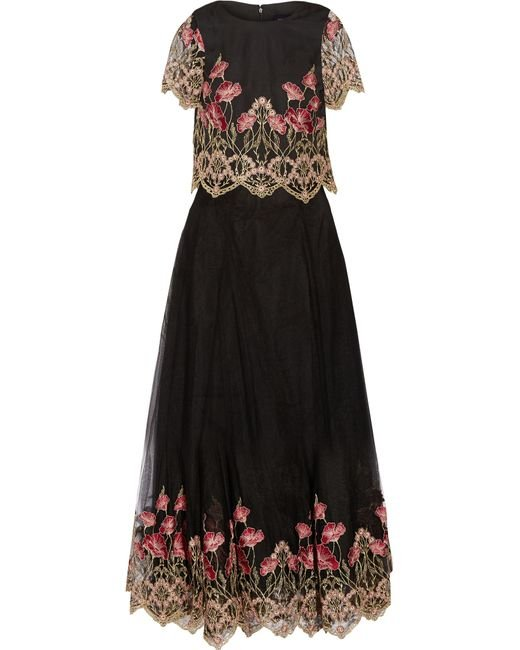 Notte by Marchesa | Black Embroidered Tulle Top And Maxi Skirt Set | Lyst