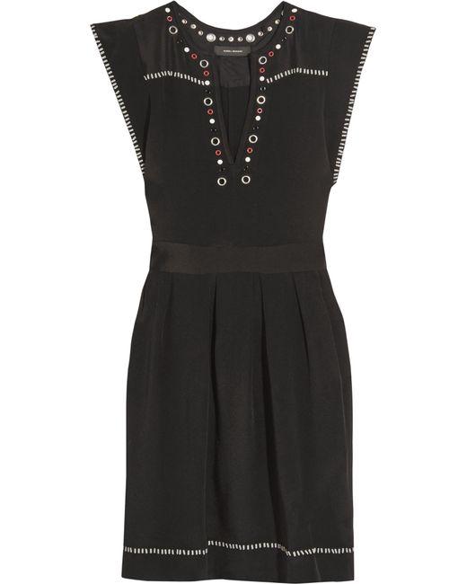 Isabel Marant | Black Fergie Embellished Silk-twill Mini Dress | Lyst