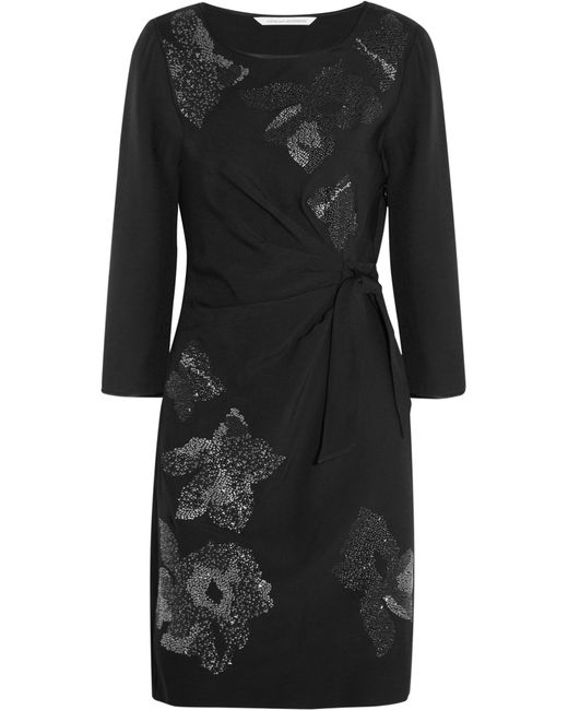 Diane von Furstenberg | Black Zoe Embellished Crepe Wrap Dress | Lyst