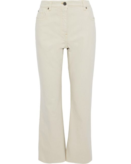Brunello Cucinelli - Natural Cropped Mid-rise Straight-leg Jeans - Lyst