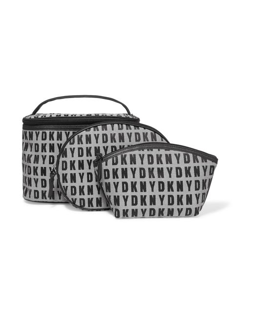 Dkny Set Of Three Jacquard Cosmetics Cases In Black