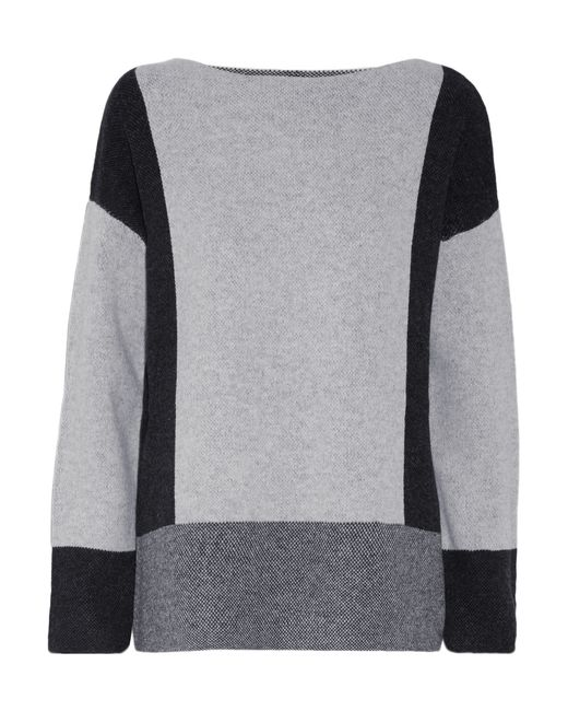 Vince | Gray Color-block Wool And Cashmere-blend Sweater | Lyst