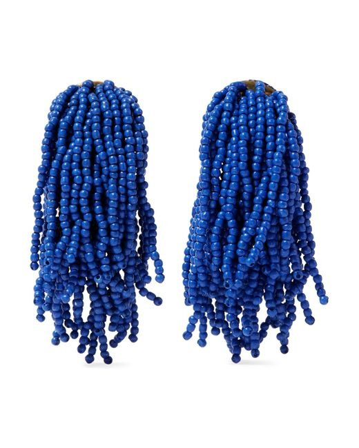 Kenneth Jay Lane - Blue Gold-tone Beaded Clip Earrings - Lyst