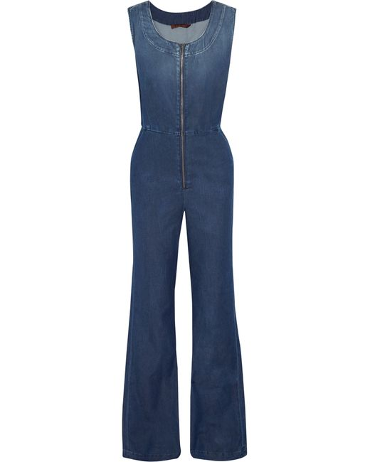 7 For All Mankind | Blue Denim Jumpsuit | Lyst