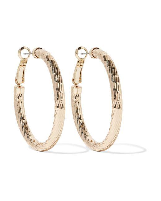 Kenneth Jay Lane | Metallic Polished Gold-tone Hoop Earrings | Lyst