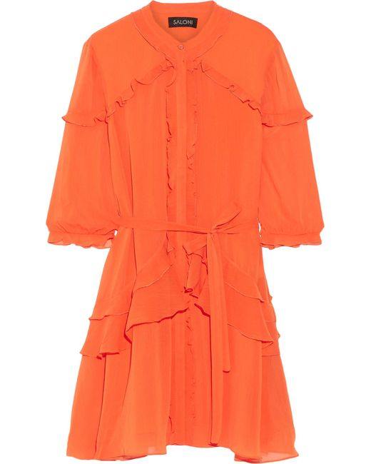 Saloni   Blue Tilly Ruffled Georgette Mini Dress   Lyst