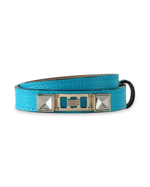 Proenza Schouler - Blue Woman Lizard-effect Leather, Silver And Gold-tone Bracelet Turquoise - Lyst