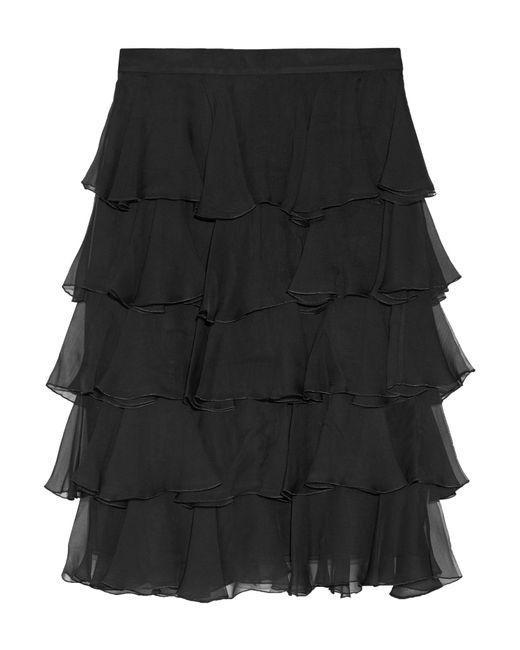 Balmain | Black Ruffled Silk-georgette Skirt | Lyst