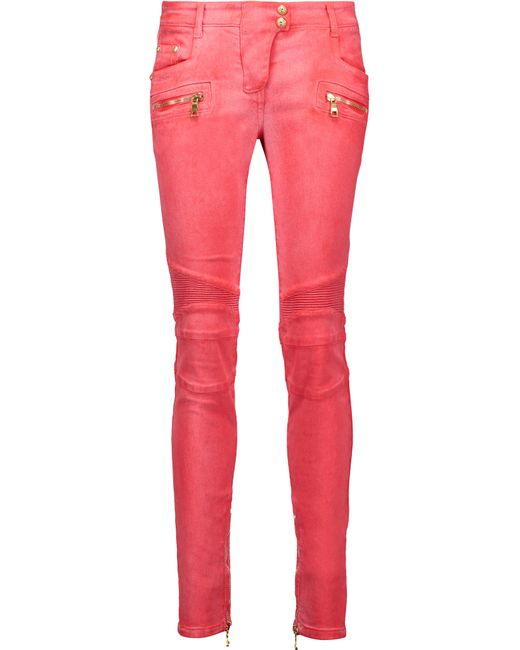 Balmain | Multicolor Moto-style Low-rise Skinny Jeans | Lyst