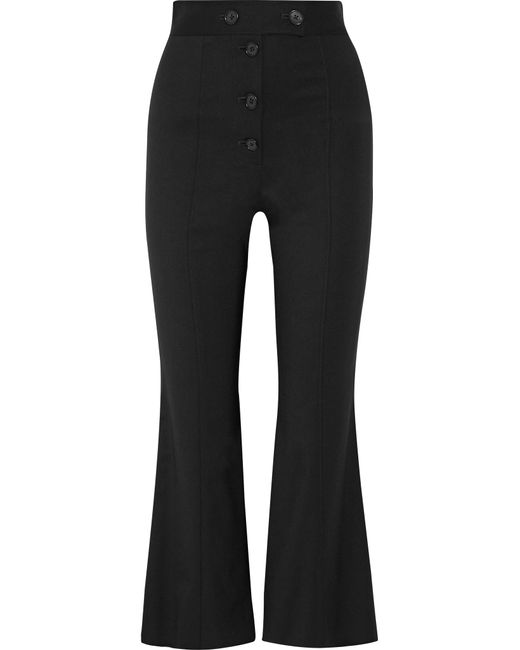 Proenza Schouler | Black Cropped Stretch-wool Flared Pants | Lyst