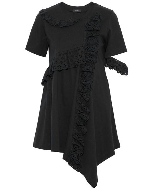 Goen.J - Black Asymmetric Ruffled Broderie Anglaise-trimmed Cotton-jersey Top - Lyst