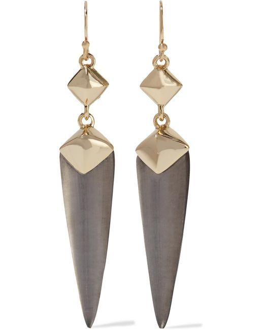 Alexis Bittar | Gray Gold-tone, Enamel And Lucite Earrings | Lyst