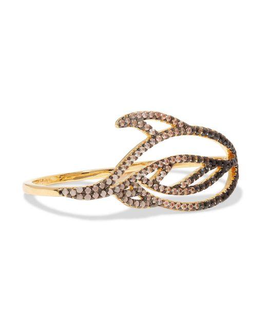 Noir Jewelry - Metallic Lustrous Gold-tone Crystal Ring - Lyst