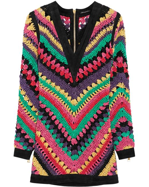 Balmain - Multicolor Striped Knitted Leather Mini Dress - Lyst
