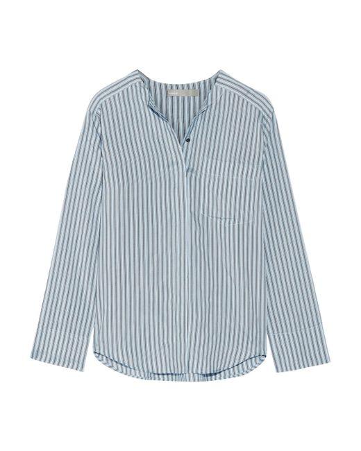 Vince - Blue Striped Silk Shirt - Lyst