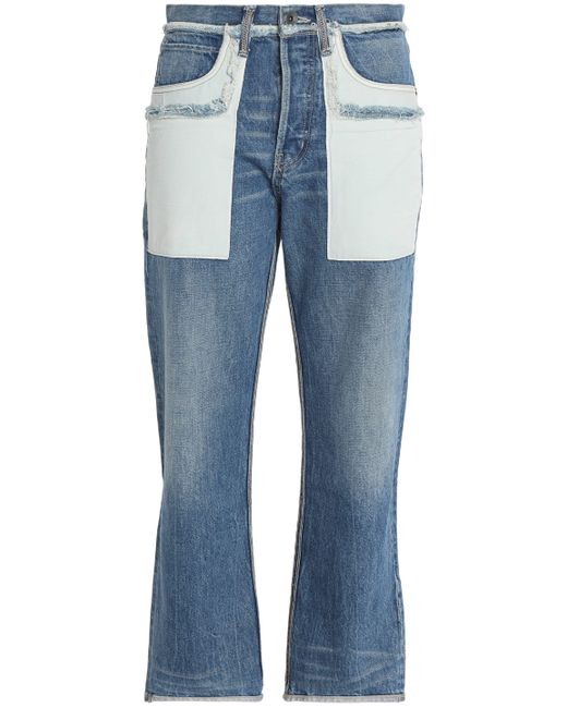 Helmut Lang - Blue Two-tone Faded High-rise Straight-leg Jeans Mid Denim - Lyst