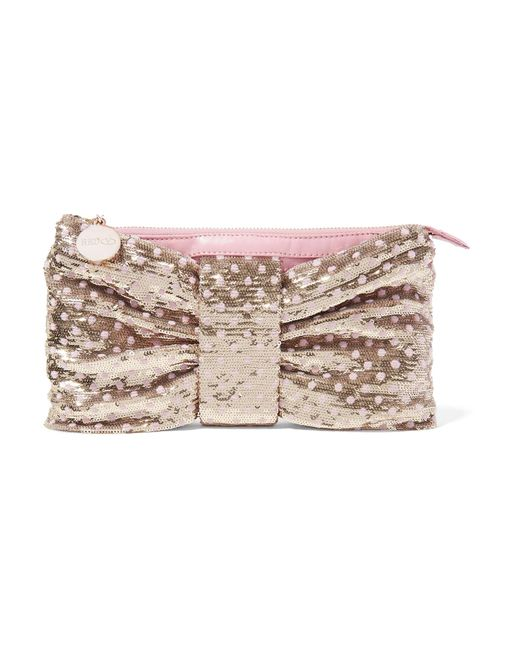 RED Valentino | Metallic Sequin-embellished Ruched Leather Clutch | Lyst