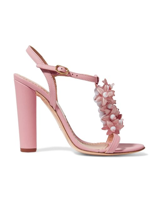 Red valentino Embellished Leather Sandals in Pink