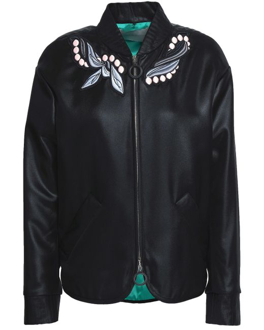 Marco De Vincenzo - Black Appliquéd Satin Bomber Jacket - Lyst