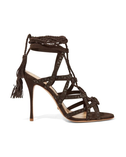 Schutz | Brown Lydia Leather-trimmed Suede Sandals | Lyst