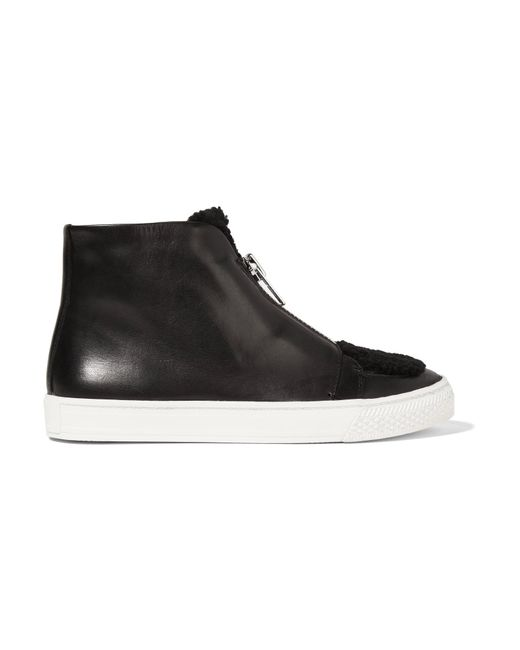 Loeffler Randall | Black Devin Shearling-trimmed Leather Sneakers | Lyst