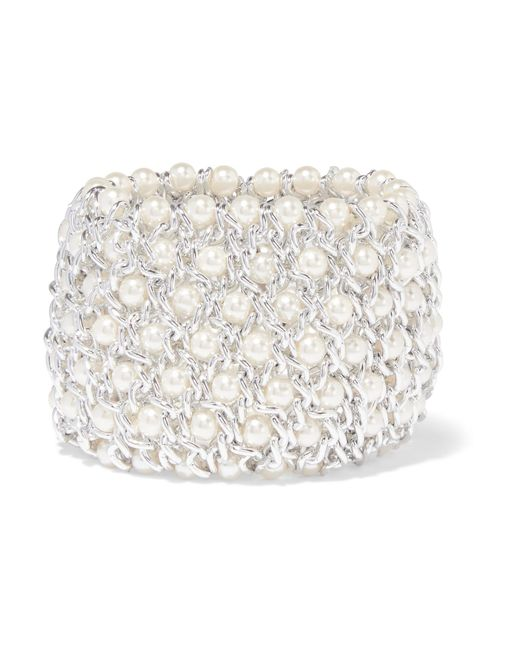 Kenneth Jay Lane | Metallic Silver-tone And Faux Pearl Bracelet | Lyst