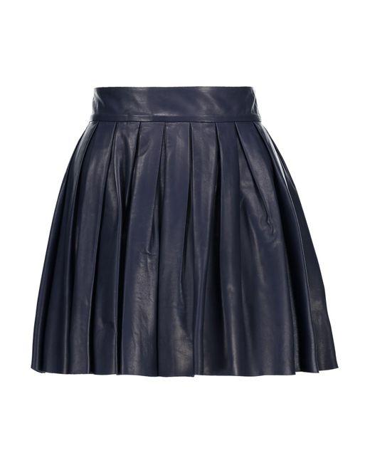 Alice + Olivia | Blue Box Pleat Leather Skirt | Lyst